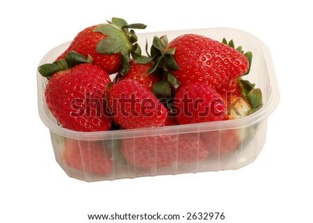 Fresh Strawberries in the Box isolated on white with clipping-path included, just copy and paste into your work!