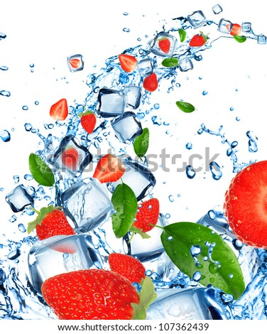 Fresh strawberries in water splash with ice cubes - stock photo