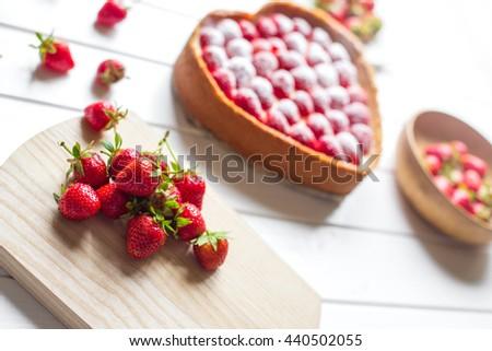 fresh strawberries. ingredients for desserts - stock photo