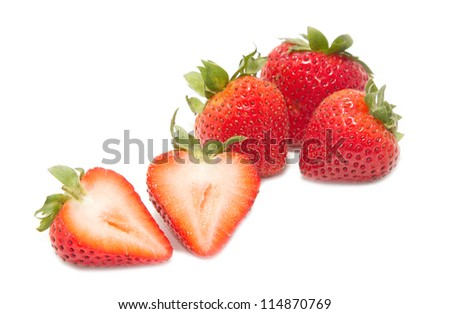fresh strawberries isolated on white background - stock photo