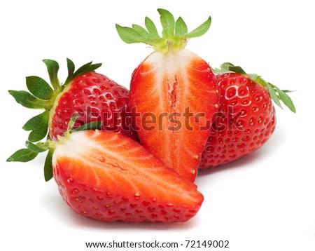 Fresh strawberries isolated on white background. - stock photo