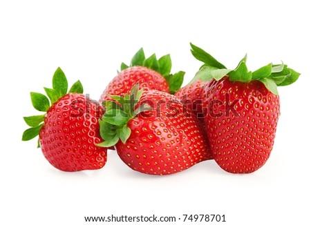 Fresh strawberries isolated on white background . - stock photo