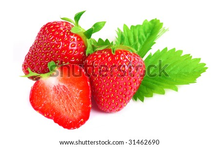 Fresh strawberries isolated on white background - close up