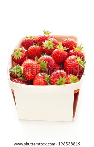 Fresh strawberries on a white background - stock photo