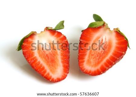 Fresh strawberries on a white background - stock photo