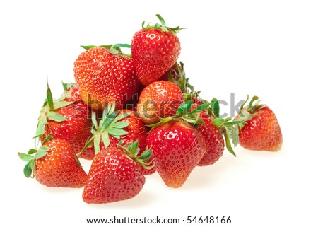 fresh strawberries on white background - stock photo