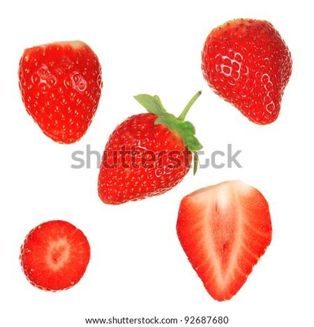 Fresh strawberries over white background - stock photo