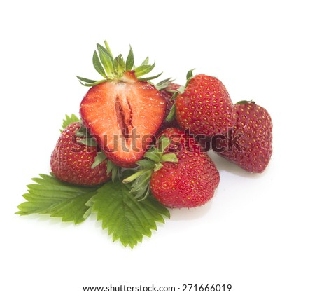 Fresh strawberries stack isolated  on white  background - stock photo