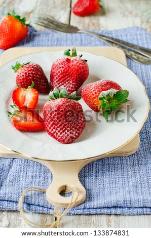 Fresh strawberries with sugar.Selective focus