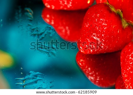 Fresh strawberry and ice cubes - stock photo