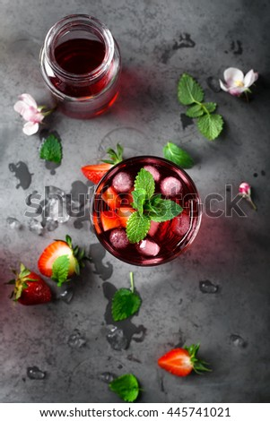 Fresh strawberry and mint drink on grey background. Top view. - stock photo