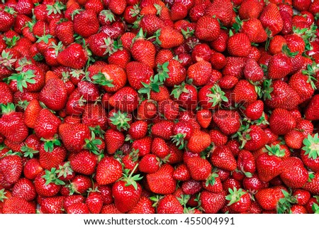 Fresh strawberry as background. Close up, top view, high resolution product. Harvest Concept - stock photo