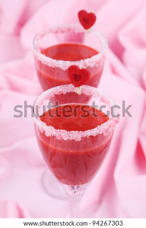 Fresh strawberry drink in wine glasses. Shallow dof - stock photo