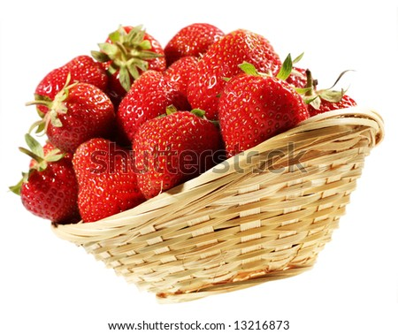 Fresh strawberry fruit group in plant basket