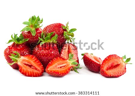 Fresh strawberry fruit isolated on white background. - stock photo