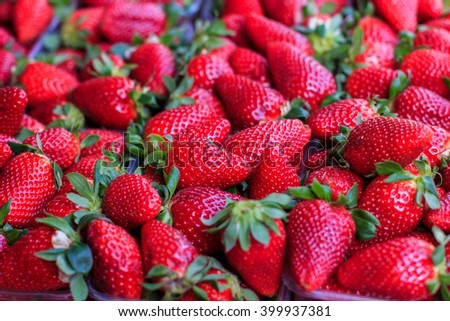 Fresh Strawberry Fruit ready for sale on marketplace. - stock photo