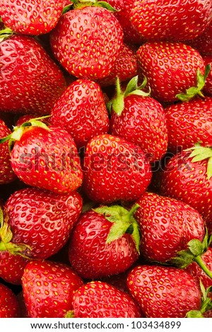 fresh strawberry full frame closeup - stock photo