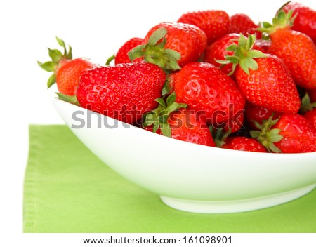 Fresh strawberry in bowl isolated on white - stock photo