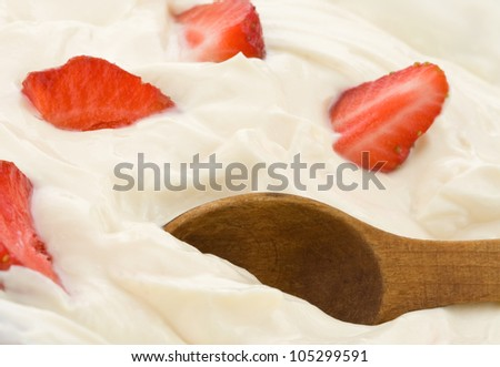 fresh strawberry in sour cream
