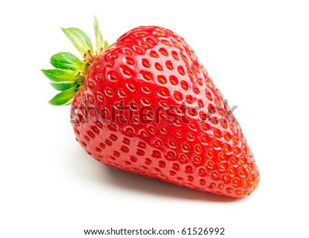 Fresh strawberry isolated on white background. - stock photo