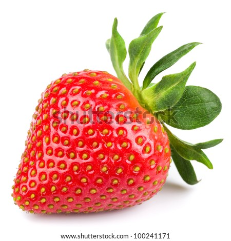 Fresh strawberry isolated on white background. Studio macro - stock photo