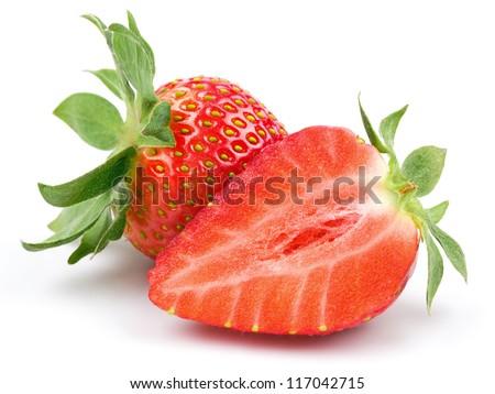 Fresh strawberry isolated on white background. Studio macro - stock photo