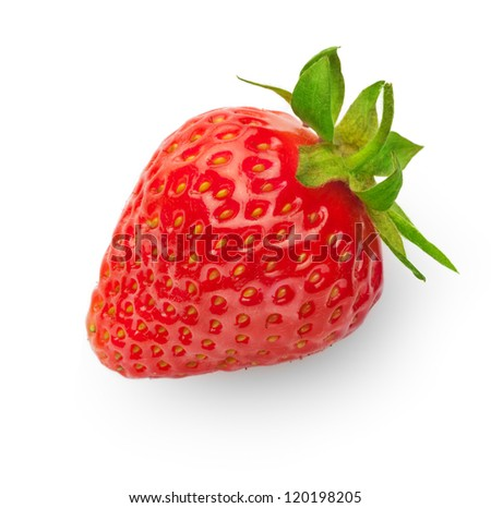 fresh strawberry isolated on white background with soft shadow - stock photo
