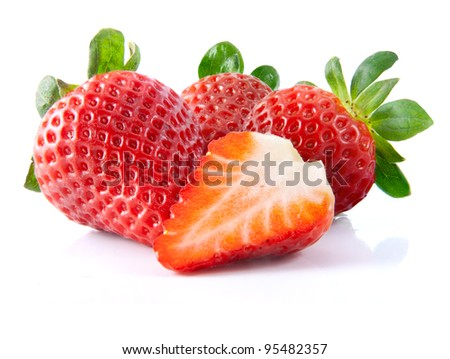 Fresh strawberry on a white background