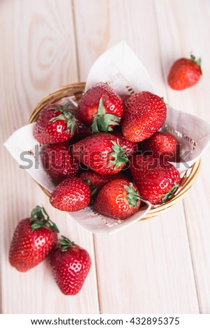 fresh strawberry on wooden background