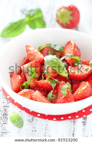 fresh strawberry salad with basil and pepper
