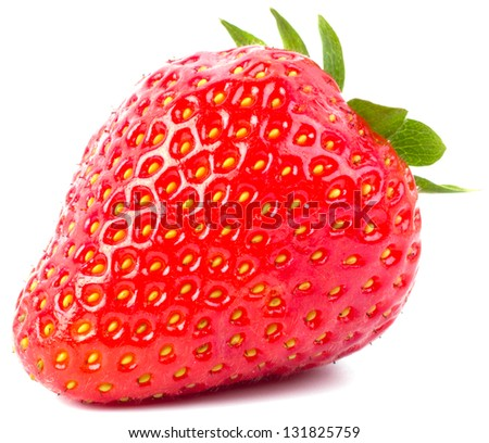Fresh strawberry were placed on a white background - stock photo