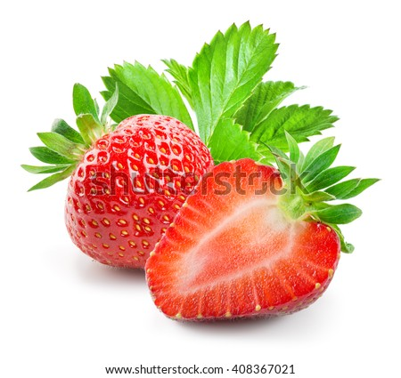 Fresh strawberry. Whole and a half isolated on white background - stock photo