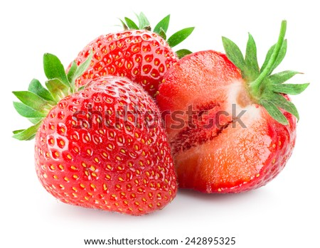 Fresh strawberry with a half isolated on white