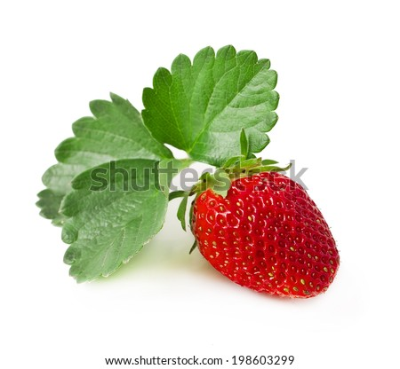 Fresh strawberry with leaf isolated on white background  - stock photo