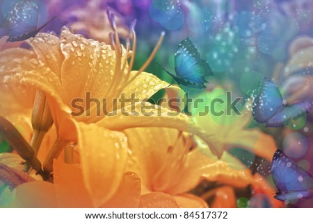 Fresh summer background with flowers and butterflies - stock photo