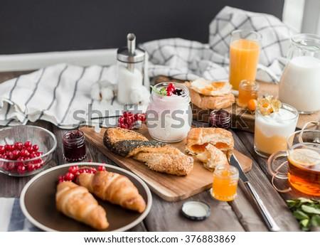 fresh summer  breakfast - stock photo