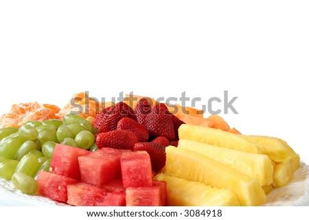 Fresh summer fruit platter - stock photo