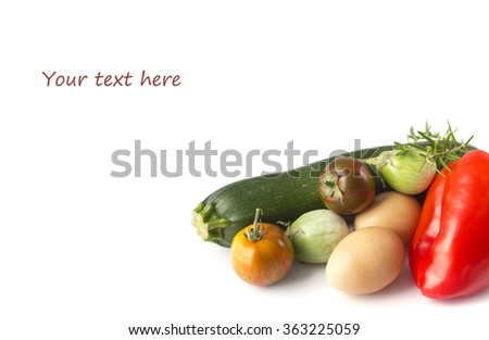 Fresh summer vegetables and eggs - stock photo
