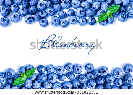 Fresh sweet blueberry fruit and mint leaf with copy space. Dessert healthy food. Group of ripe blue juicy organic berries. For web site, banner design. Isolated on white background. - stock photo