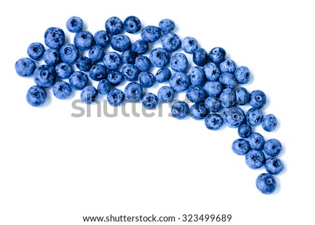 Fresh sweet blueberry fruit. Dessert healthy food. Group of ripe blue juicy organic berries. Raw summer diet. Delicious nature vegetarian ingredient. Isolated on white background. Juicy blueberry - stock photo