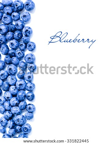 Fresh sweet blueberry fruit. Dessert healthy food. Group of ripe blue juicy organic berries. Raw summer diet. For web site, banner design, copy space. Isolated on white background. - stock photo
