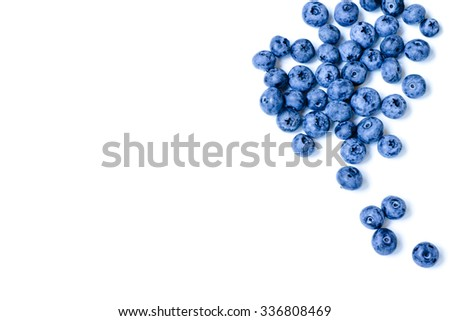 Fresh sweet blueberry fruit. Dessert healthy food. Group of ripe blue juisy organic berries. Raw summer diet. Delicious nature vegetarian ingredient. Isolated on white background. - stock photo