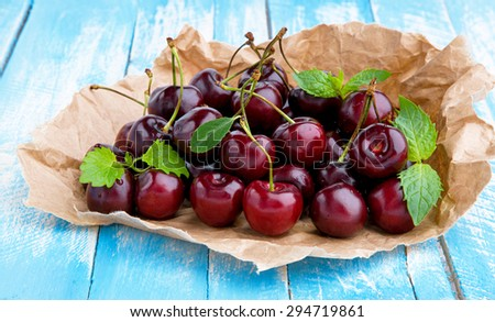Fresh sweet cherry . - stock photo