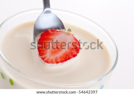 Fresh sweet cherry in cream. - stock photo