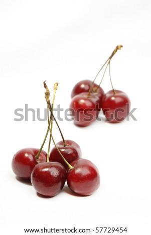 fresh sweet cherry over white background - stock photo