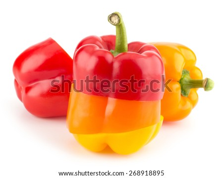 Fresh sweet colorful cut pepper isolated on white background closeup - stock photo