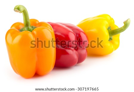 Fresh sweet colorful pepper isolated on white background closeup - stock photo