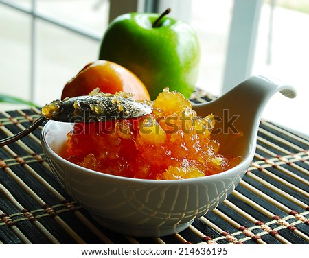 Fresh, sweet, delicious jam from ripe apples. - stock photo