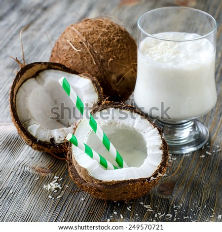 Fresh sweet healthy coconut milk shake square image  - stock photo