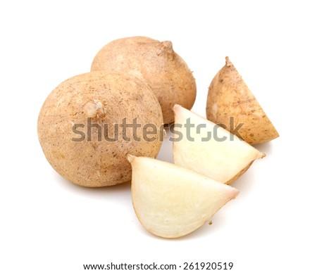fresh sweet jicama vegetables isolated on white  - stock photo